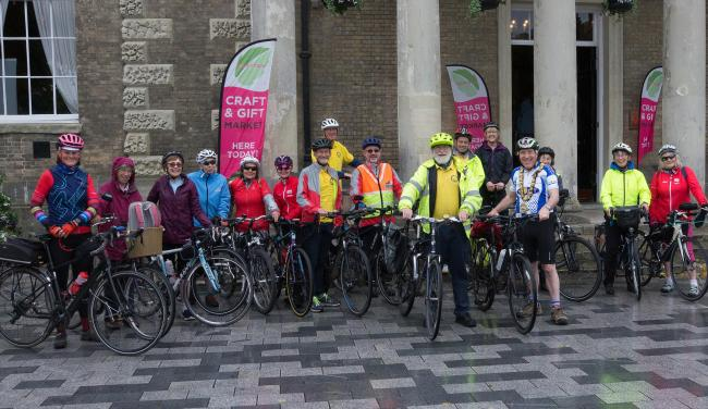 Cyclists join Mayor of Salisbury John Walsh and COGS Chairman Hadrian Cook outside the Guildhall for the start of the Mayor's Ride, picture by Richard Bolton