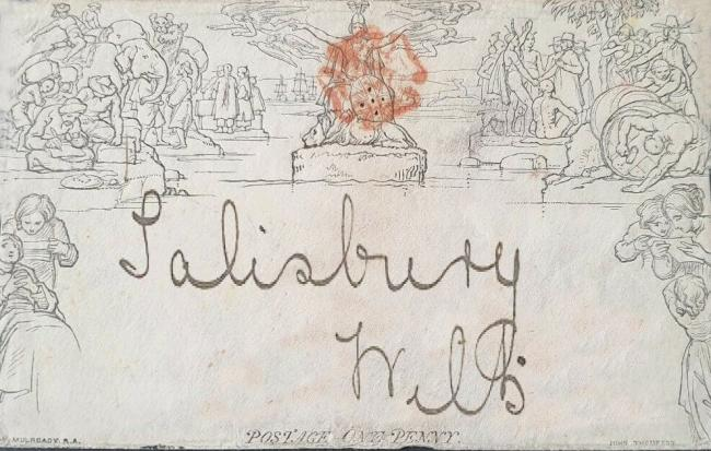 "A version of the Malrenie envelope sent to ""Tranmere"" in New Street showing the red Maltese cross"