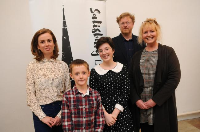 Story prize winners Ella Curry, Annie Wills, Thomas Proctor and runner up Kaeren Harrison with Tom Bromley..Salisbury Literary Festival 2018 Launch Party at Salisbury Museum DC8825P27 Picture by Tom Gregory.