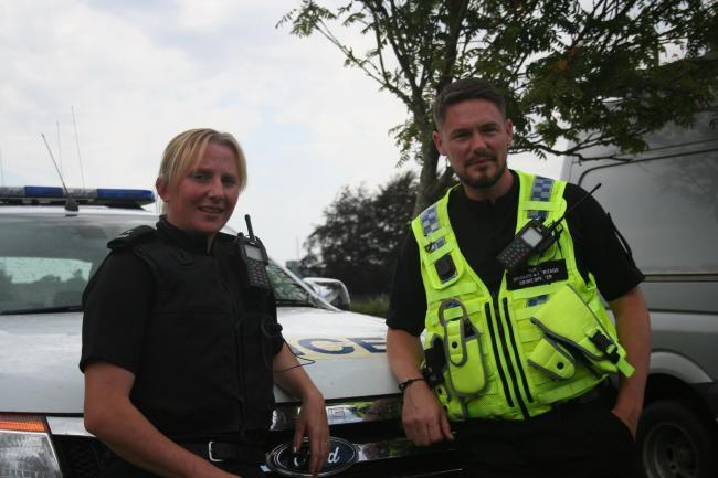 PC Emily Thomas and PC Marc Jackson of the Wiltshire Police Rural Crime Team