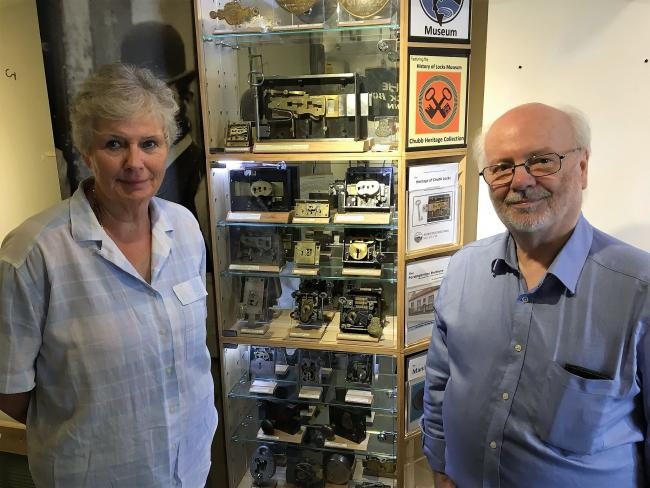 Fordingbridge Museum manager Jane Ireland with Brian Morland