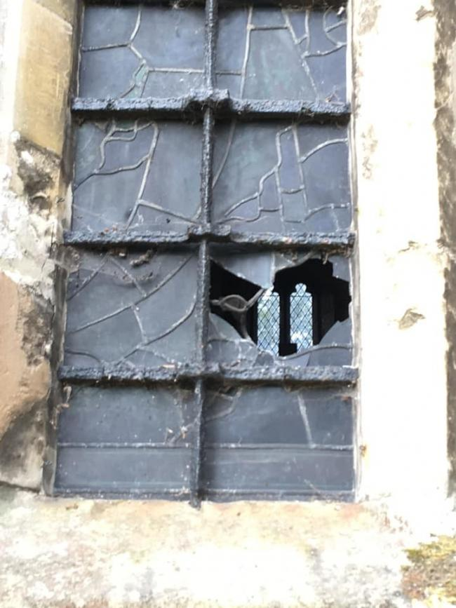 The smashed window at the church  in Fordingbridge  Picture: Avon Valley Partnership Facebook page
