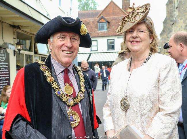 The 759th Mayor of Salisbury Councillor John Walsh with Mayoress Carrie Walsh.