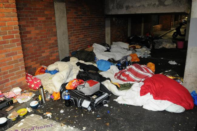 Homeless people staying under Sainsbury's Car Park, Salisbury. DC8008P5..Picture by Tom Gregory.