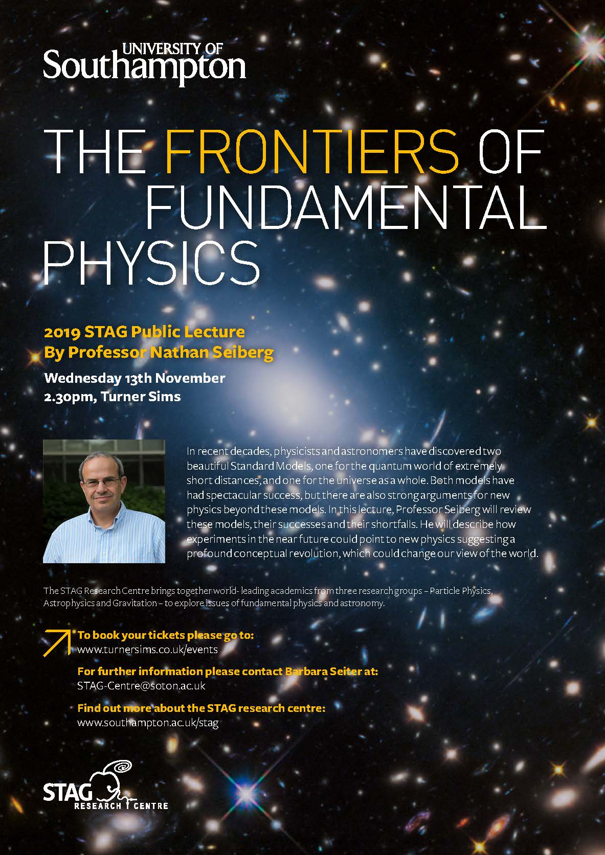 The Frontiers of Fundamental Physics - 2019 STAG Public Lecture