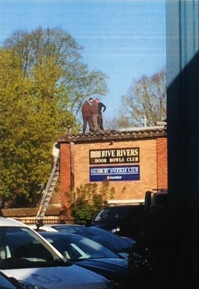 CB Roofing on the roof of Five Rivers Bowls Club on Tollgate Road.