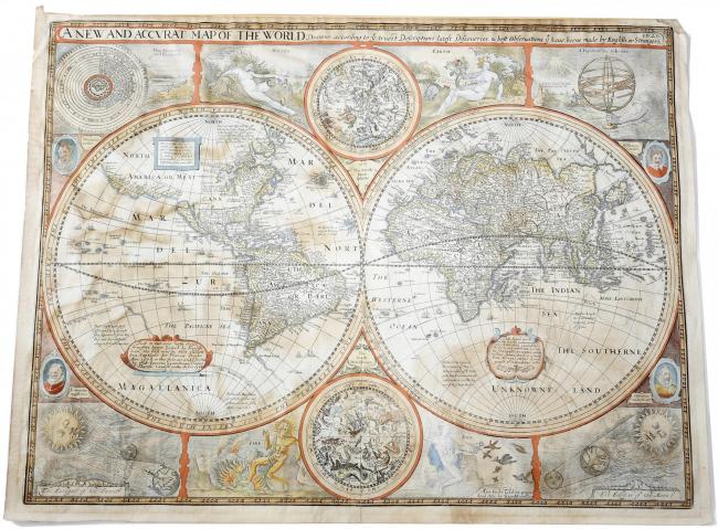 A New and Accurat Map of the World which was sold at auction in Salisbury   Picture by Alan Morgan Photography
