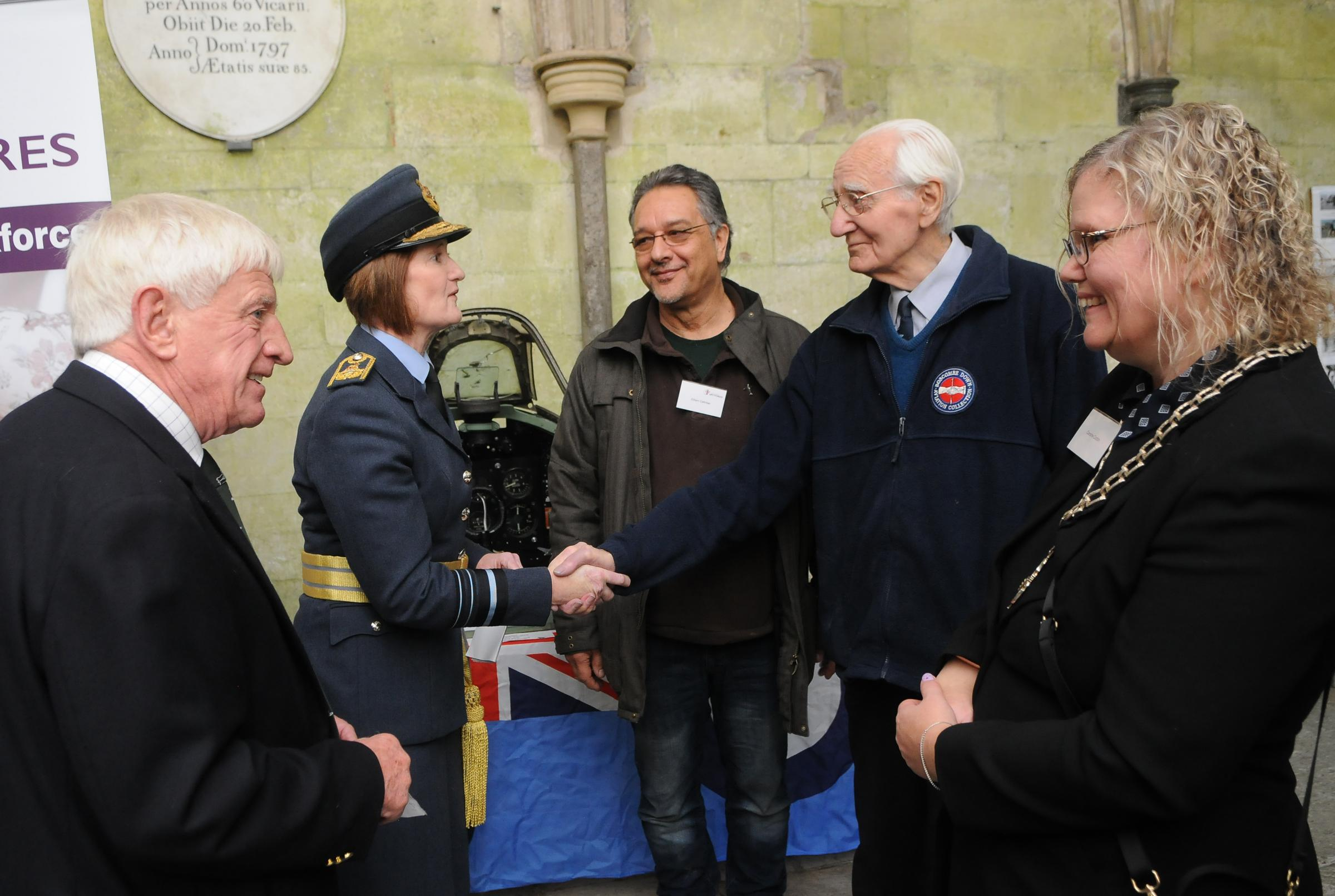 Air Marshal Sue Gray and Spitfire engineer Norman Parker..Secret Spitfires Memorial launch at Salisbury Cathedral DC9275P13 Picture by Tom Gregory.