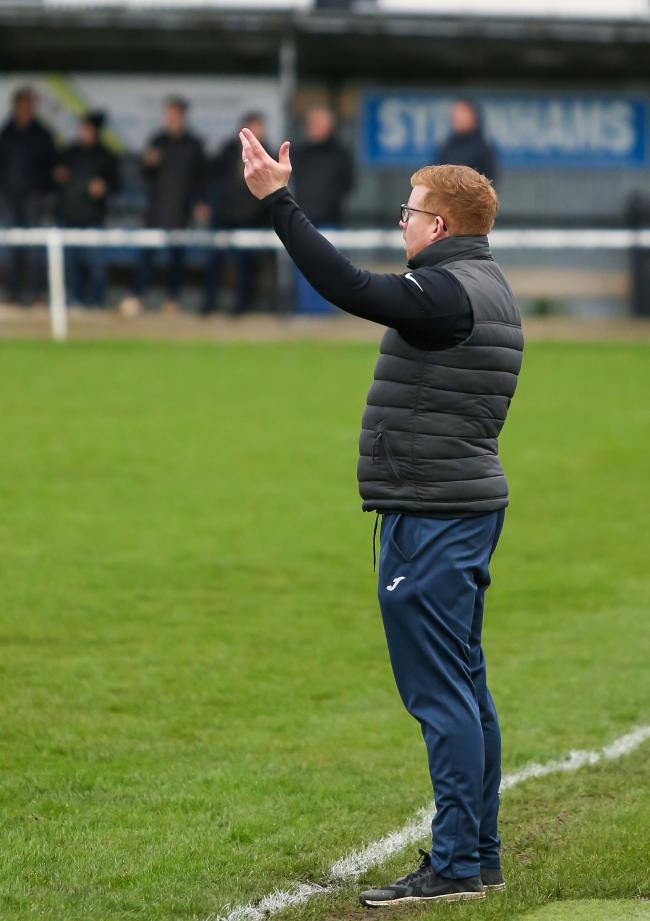 Manager Liam McConnell makes his point.