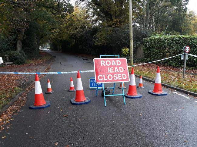 Hampshire Road closed in both directions due to gas leak