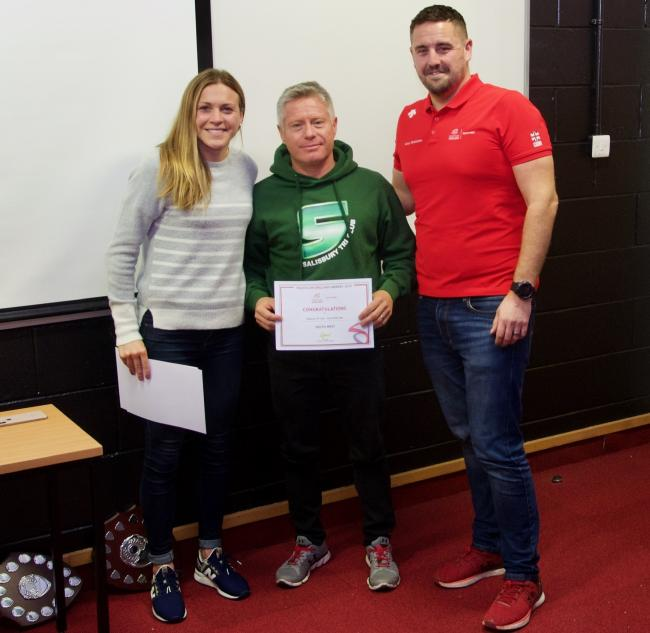 Club Secretary Brian Elliott was there to receive the award on behalf of the club from ITU World Triathlon Union's  2018 World Champion, Vicky Holland, and South West regional chair, Ashley Hutchinson.