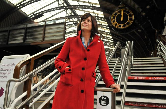Transport Minister Claire Perry arrives at York station to answer questions during her East Coast visit.Pic:Nigel Holland.