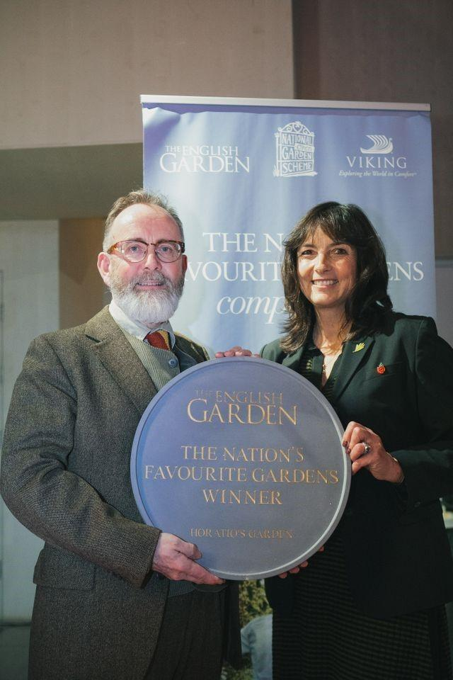 Head Gardener Stephen Hackett and Horatio's Garden founder and Chair of Trustees, Dr Olivia Chapple with the National Garden Scheme award