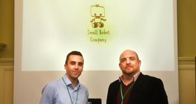 Sam Watson-Jones and Ben Scott-Robinson of The Small Robot Company give a talk at the Oxford Farming Conference in January 2018. Picture by Richard Cave
