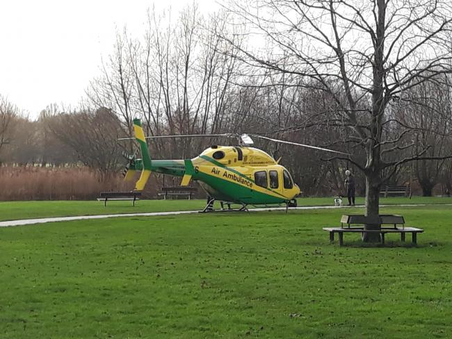 Air ambulance lands in Queen Elizabeth Gardens