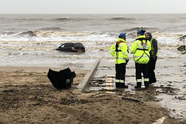 A car is swept into the sea near Blackpool