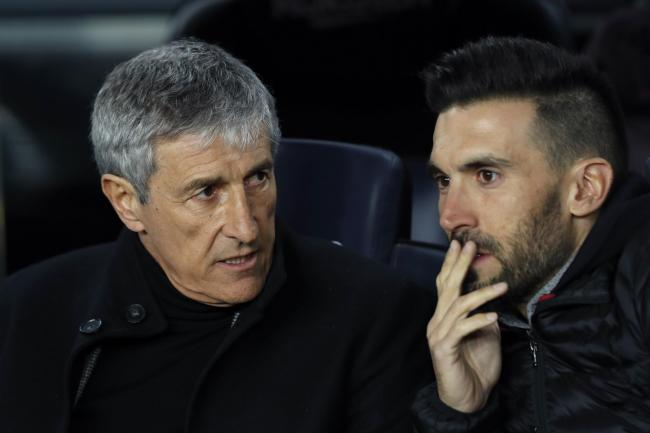 Barcelona manager Quique Setien (left) is set for his third match in charge