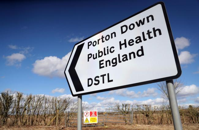 A sign for Porton Down, a science park near Salisbury which contains Public health England and the Defence Science and Technology Laboratory. Photo: Andrew Matthews/PA Wire