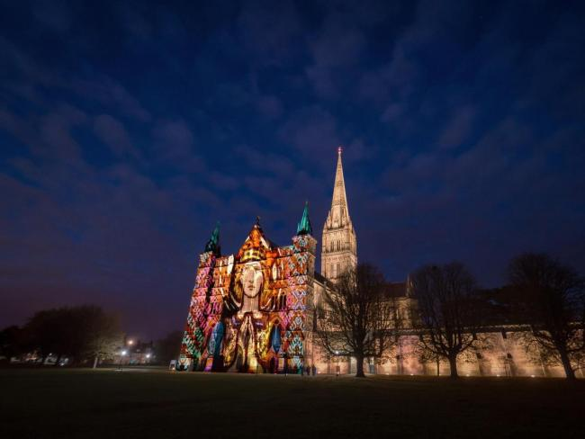 Composite image illustrating Salisbury Lights at Salisbury Cathedral