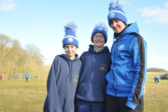 Picture shows: Ready to race: Mary Clements (centre) with Lilli (left) and Katie at the Popham cross country