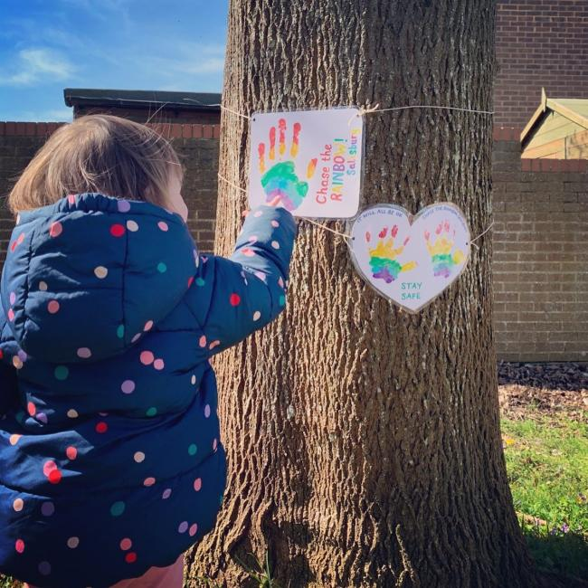 We added some rainbows to a tree on Ridings Mead this morning. I'm a local a Childminder remaining open for Key Worker parents so they can continue to do their vital work for our country right now.
