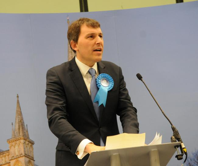 Conservative candidate John Glen..Election count for Salisbury Constituency and Devizes Constituency, held at Five Rivers Leisure Centre in Salisbury..General Election 2019 DC9356P125 Picture by Tom Gregory...