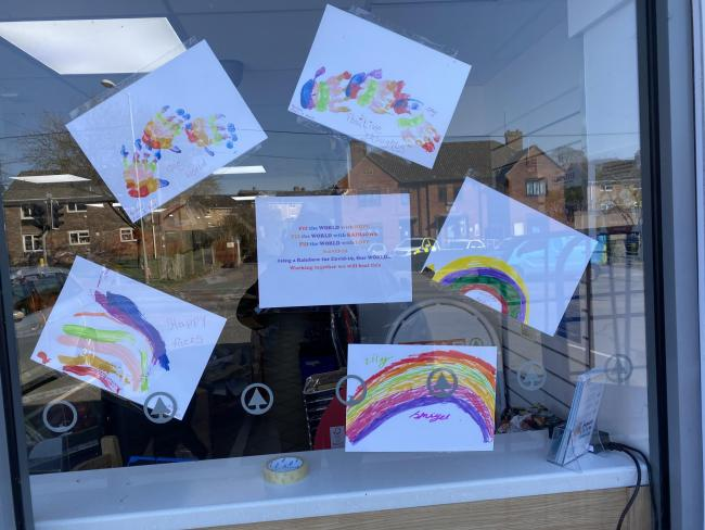 Customers of spar Pennings road dropped in some rainbow pictures to brighten the windows
