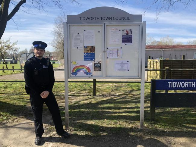 Tidworth Town Council have joined in the #FollowTheRainbow. Tidworth PCSO Dan Catterick found ours on his patrol.