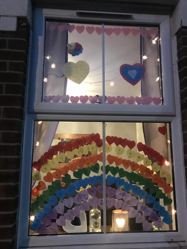 Spreading kindness and love to everyone . Amelia Barclay age 9  learnt how to wash the window inside and then created this beautiful rainbow .