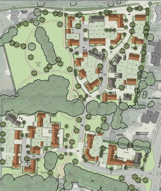 The final site layout of the proposed development at Burgate Acres near Fordingbridge