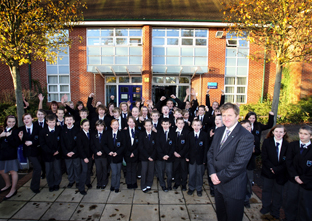 WELL DONE: Head teacher Ian Golding with pupils from Oasis Academy Lordshill. Echo picture by Paul Collins. Order no: 9630935