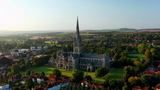 Salisbury Cathedral from the air Photograph by Jacques Eloff Vertech Imaging