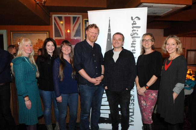 Tom Bromley with event organisers..Salisbury Literary Festival 2019 Launch at the Cosy Club, Salisbury DC9282P26 Picture by Tom Gregory.