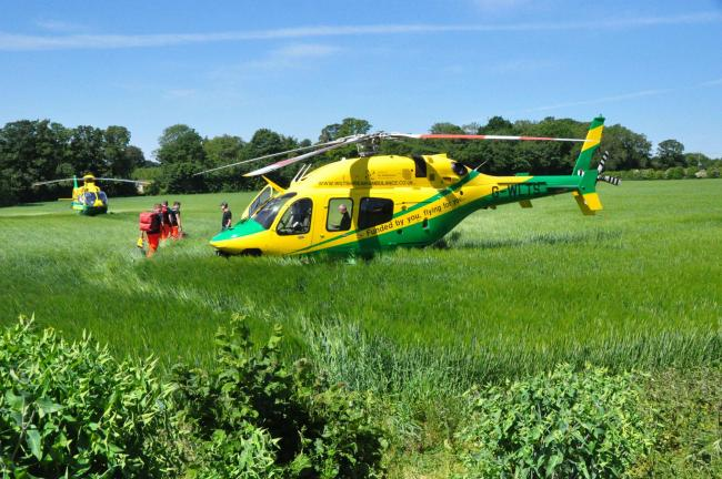 Wiltshire Air Ambulance  was at the scene - Picture from David Berryman
