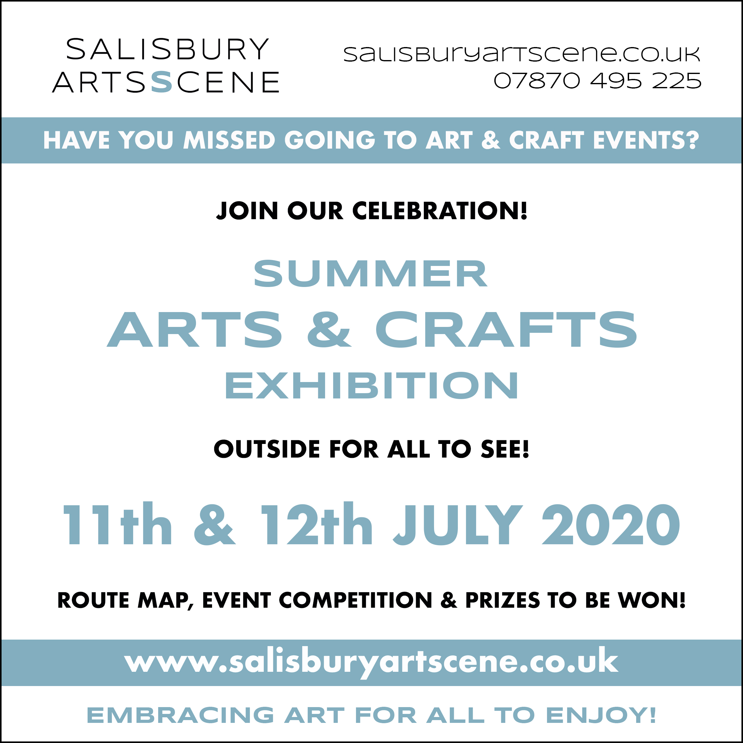 SALISBURY ARTS SCENE - SUMMER ARTS EXHIBITION - OUTSIDE FOR ALL TO SEE!