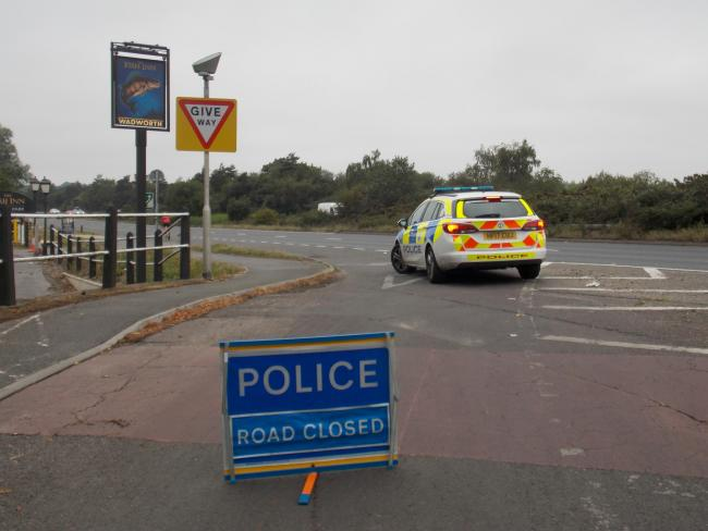 The road was closed after a collision on the A31   Picture by Simon Rowley