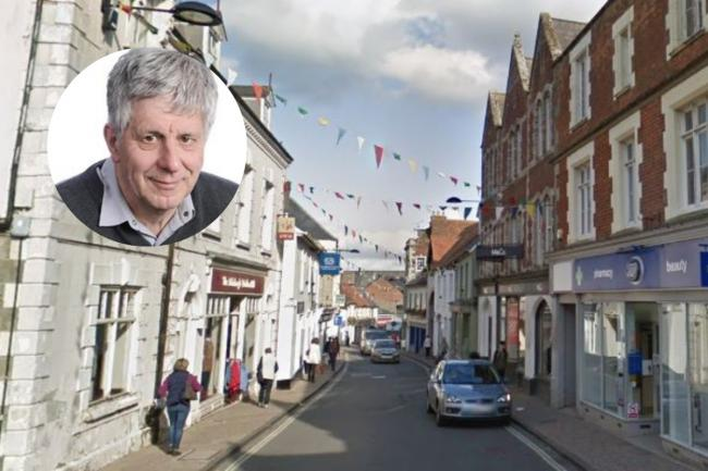 Shaftesbury High Street and inset, Councillor Derek Beer - Picture from Google Street View