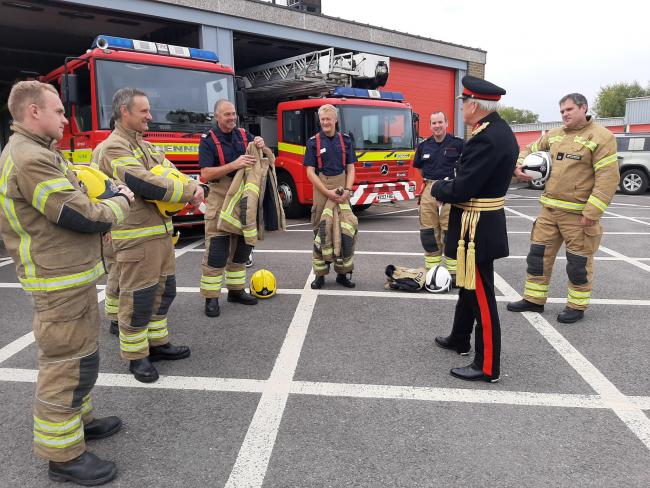 High Sheriff General Ashley Truluck CB CBE with Salisbury Fire Station Manager Matty Maggs, Watch Leader Tom Brolan and some of their crew