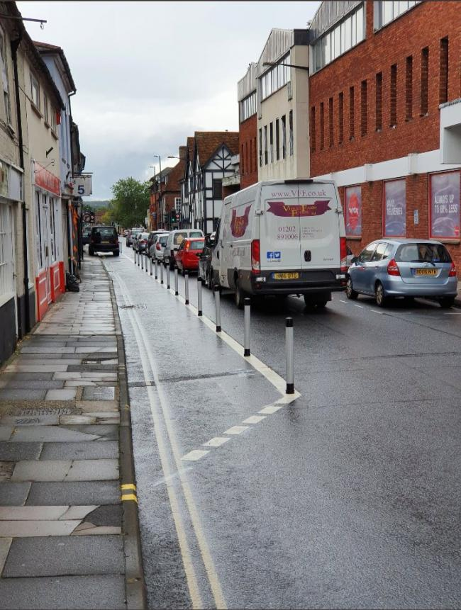 The cycle lane on Brown Street. Picture from Twitter.