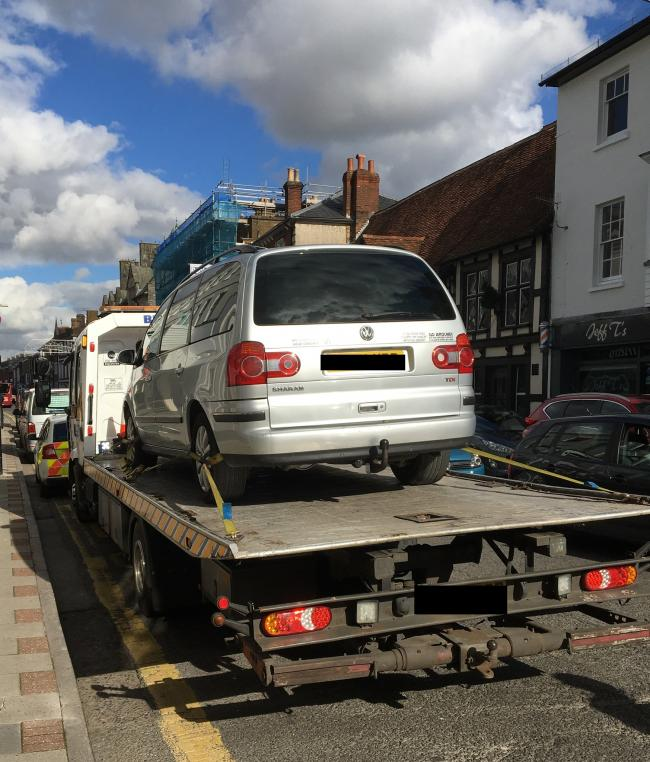 Police seized a vehicle in Castle Street, Salisbury   Picture: Salisbury Police Facebook