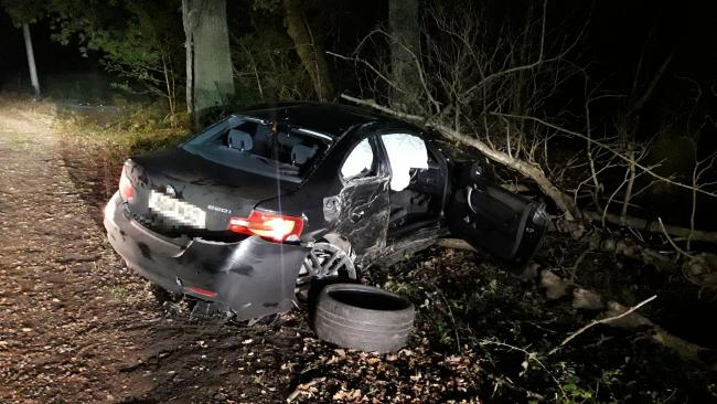 The crash in the New Forest. Picture by Hampshire Constabulary