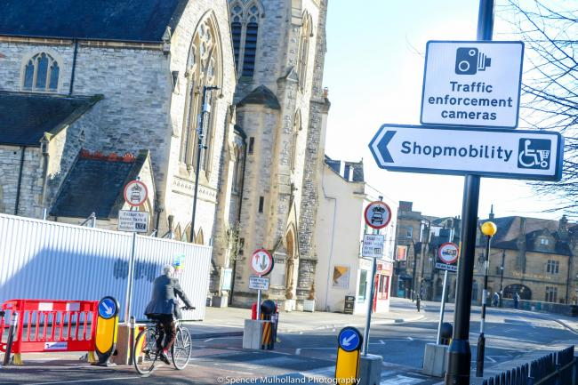 A cyclist on Fisherton Street, Salisbury, after the introduction of the People Friendly Streets scheme. Credit: Spencer Mulholland