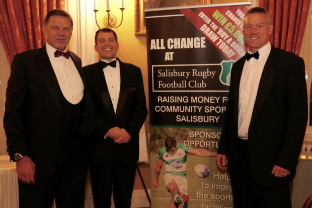 Dave Egerton (left), with John Glen MP and Tim Stimpson at a Salisbury Rugby Club Sportsman Dinner. Picture by Spencer Mulholland...