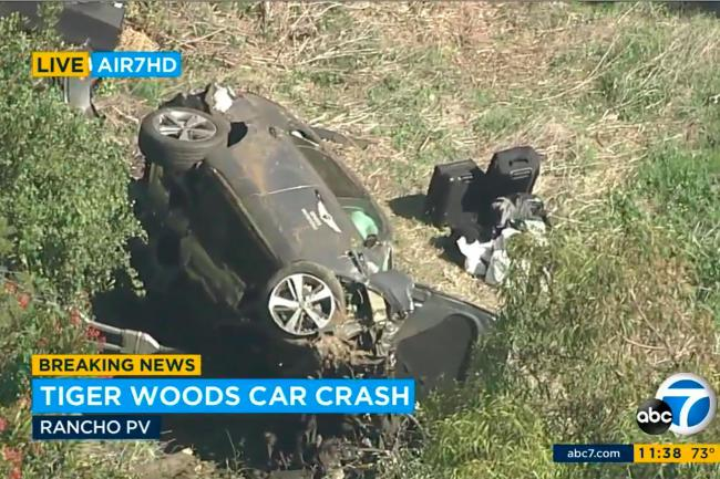 A vehicle carrying Tiger Woods rolled over in a traffic collision