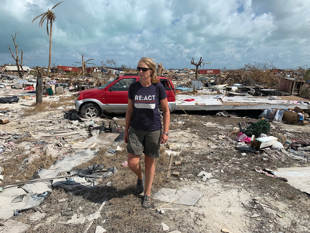 Lizzy Stileman in the in The Bahamas responding to Hurricane Dorian in 2019