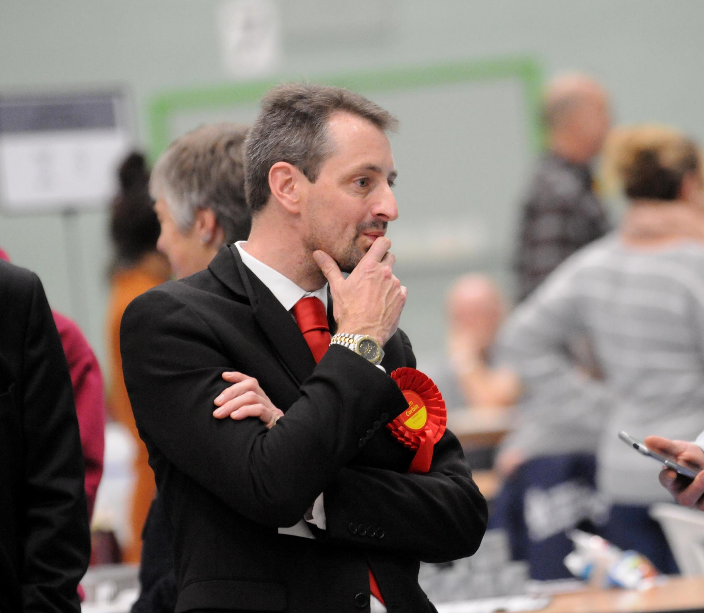 Labour candidate Tom Corbin..Election count for Salisbury Constituency and Devizes Constituency, held at Five Rivers Leisure Centre in Salisbury..General Election 2019 DC9356P104 Picture by Tom Gregory...