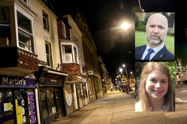 Blue Boar Row in Salisbury, picture by Spencer Mulholland. Inset top right, Inspector Mark Andrews of Wiltshire Police Federation, and below, Sarah Everard.