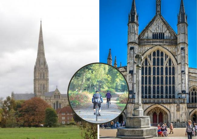 Salisbury Cathedral (left), and Winchester Cathedral (right)