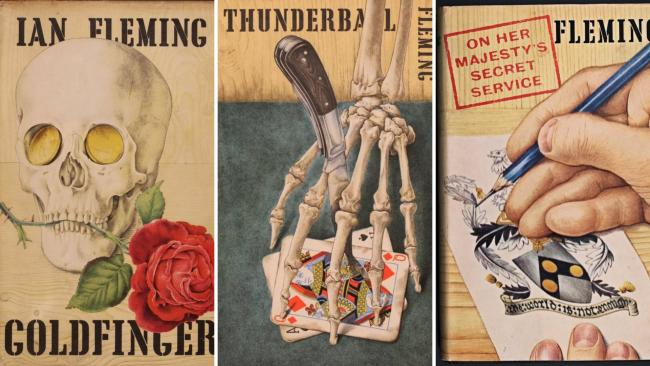 Left to right: Original covers of Goldfinger, Thunderball, and On Her Majesty's Secret Service by Richard Chopping