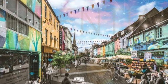 A design drawing for how the Future High Streets Fund could transform Fisherton Street in Salisbury. Credit: Atkins
